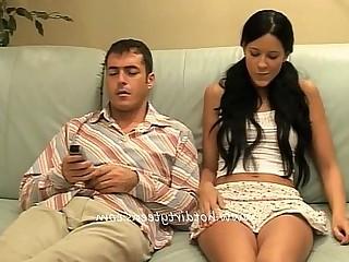 Big Tits Blowjob Big Cock Couch Cum Cumshot Daughter Fingering